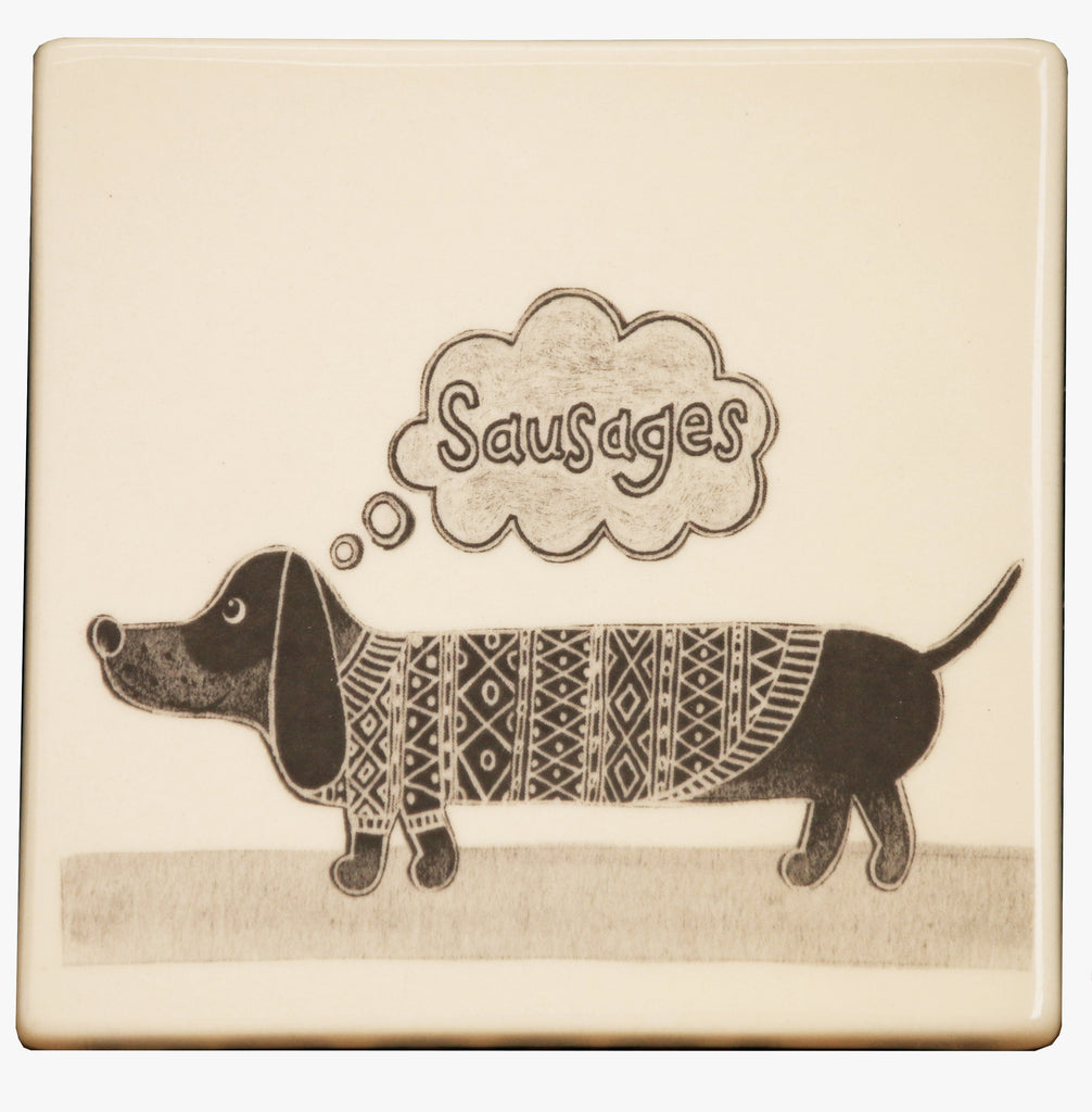 Sausage Dog Ceramic Coaster by Moorland Pottery