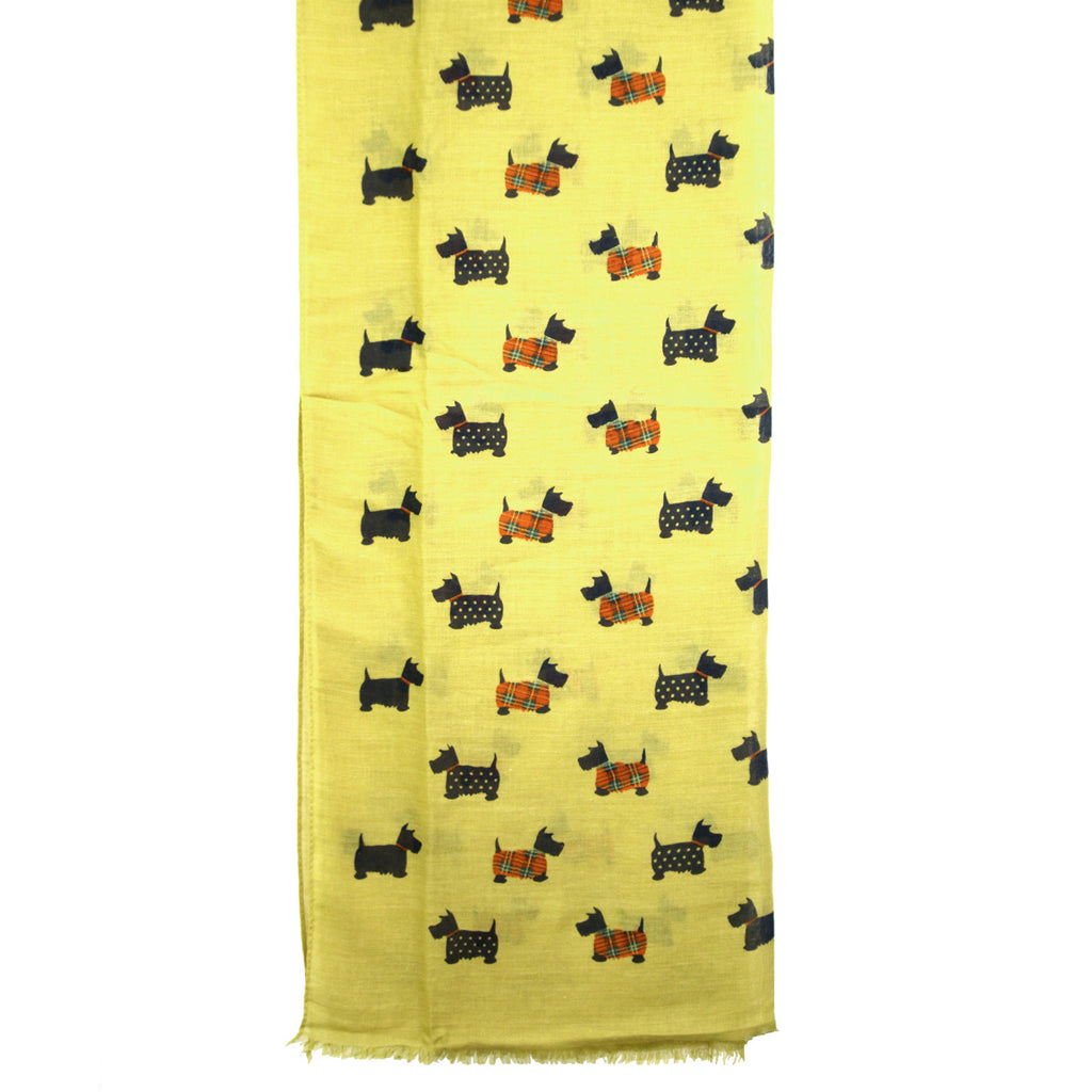 Dotted Scotty Dog Print Lime Green Scarf