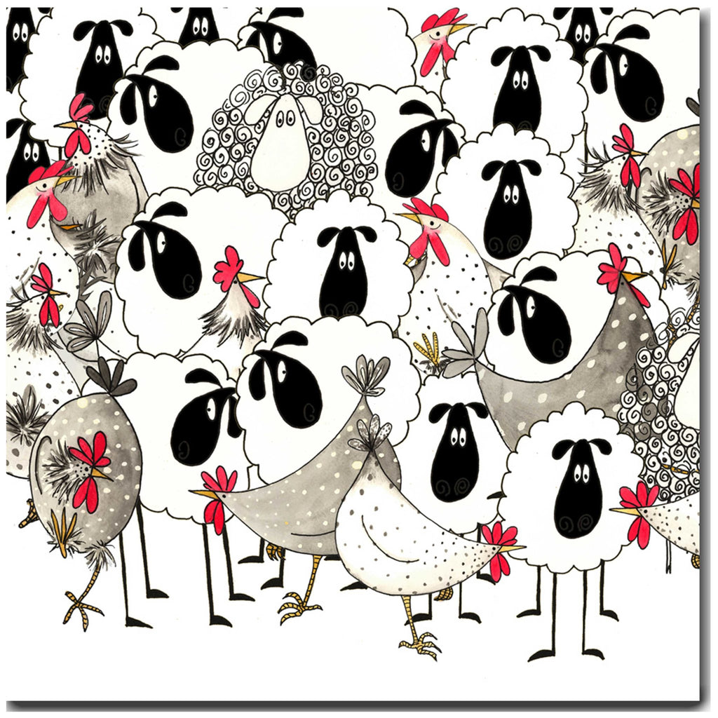 Hotch Potch Chickens & Sheep Greeting Card