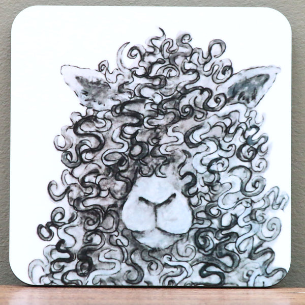 Curly Shamus Sheep Coaster by Clare Tyas.