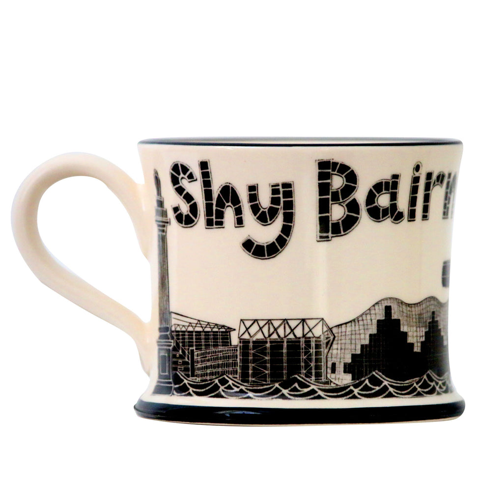 Shy Bairns Get Nowt Earthen Ware Mug by Moorland Pottery