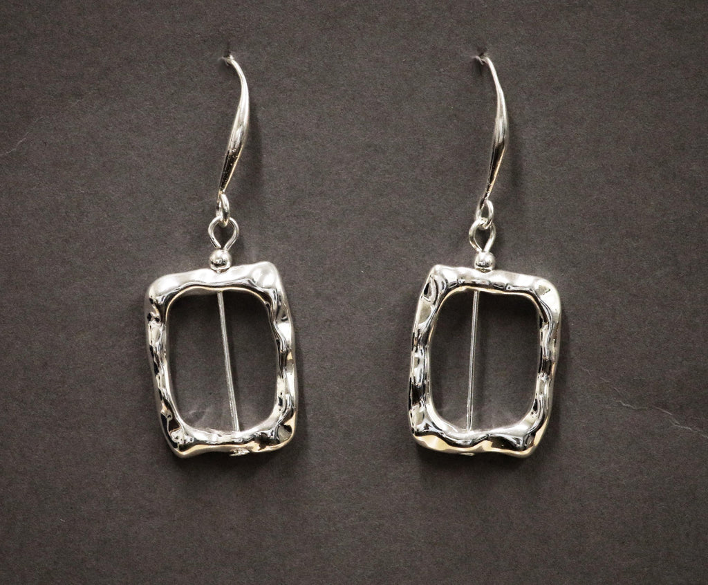 Soft hammered open square on fish hook earrings by Sarah Tempest