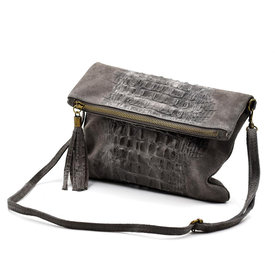 Italian suede clutch bag with croc panel detail in Dark Grey