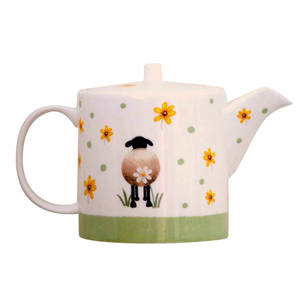 Sheep and Daisies bone China Teapot by Lucy pittaway