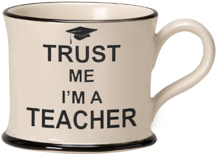 Trust me I'm a Teacher Earthen ware mug by Moorland Pottery