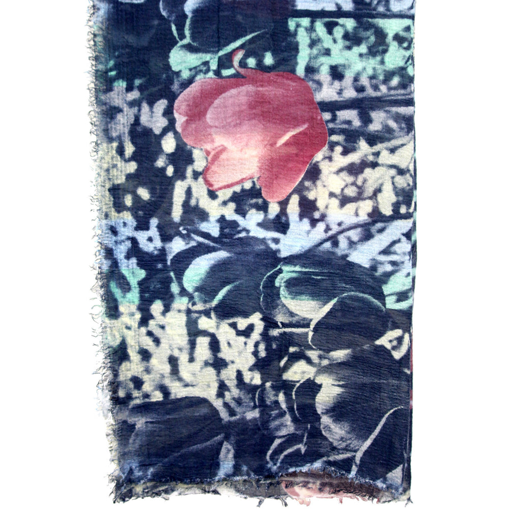 Tulips Print Frayed Navy Blue Scarf