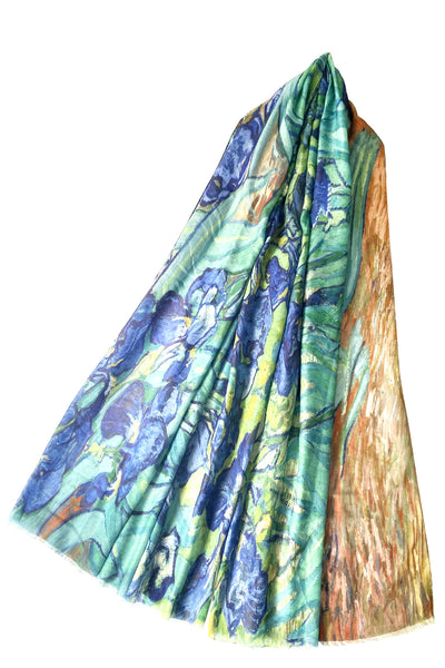 Van Gogh Irises Print Scarf with frayed edges.