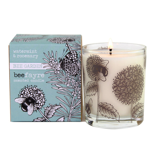 Watermint & Rosemary Large Scented Candle by Beefayre