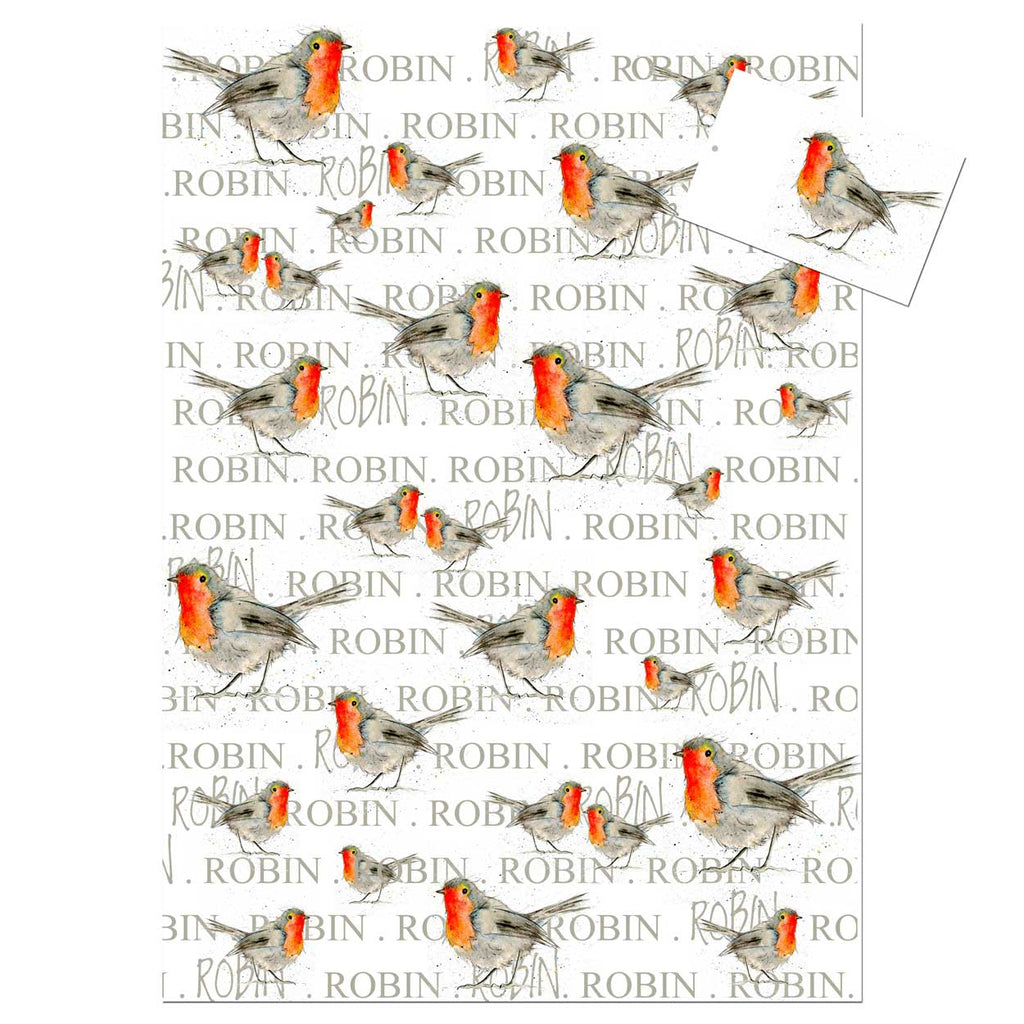 Robin Wrapping Paper – White designed by Sarah Boddy