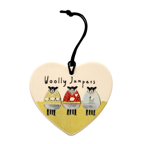 Woolley Jumpers Hanging heart decoration by Moorland Pottery