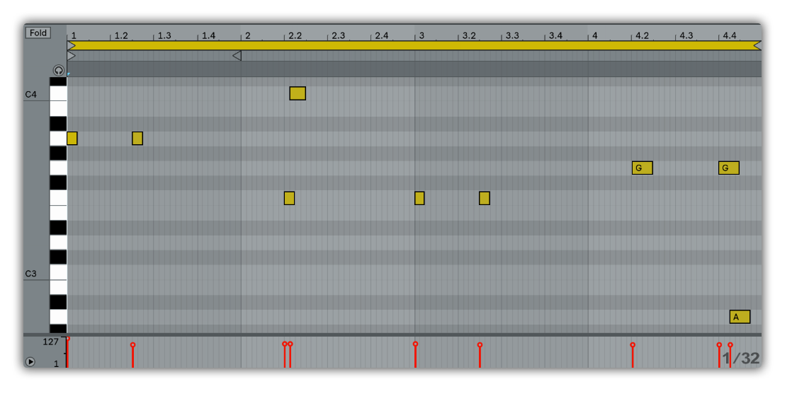 ableton clip view bass pattern