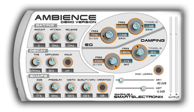 Ambience by Smart Electronix free reverb VST plugin