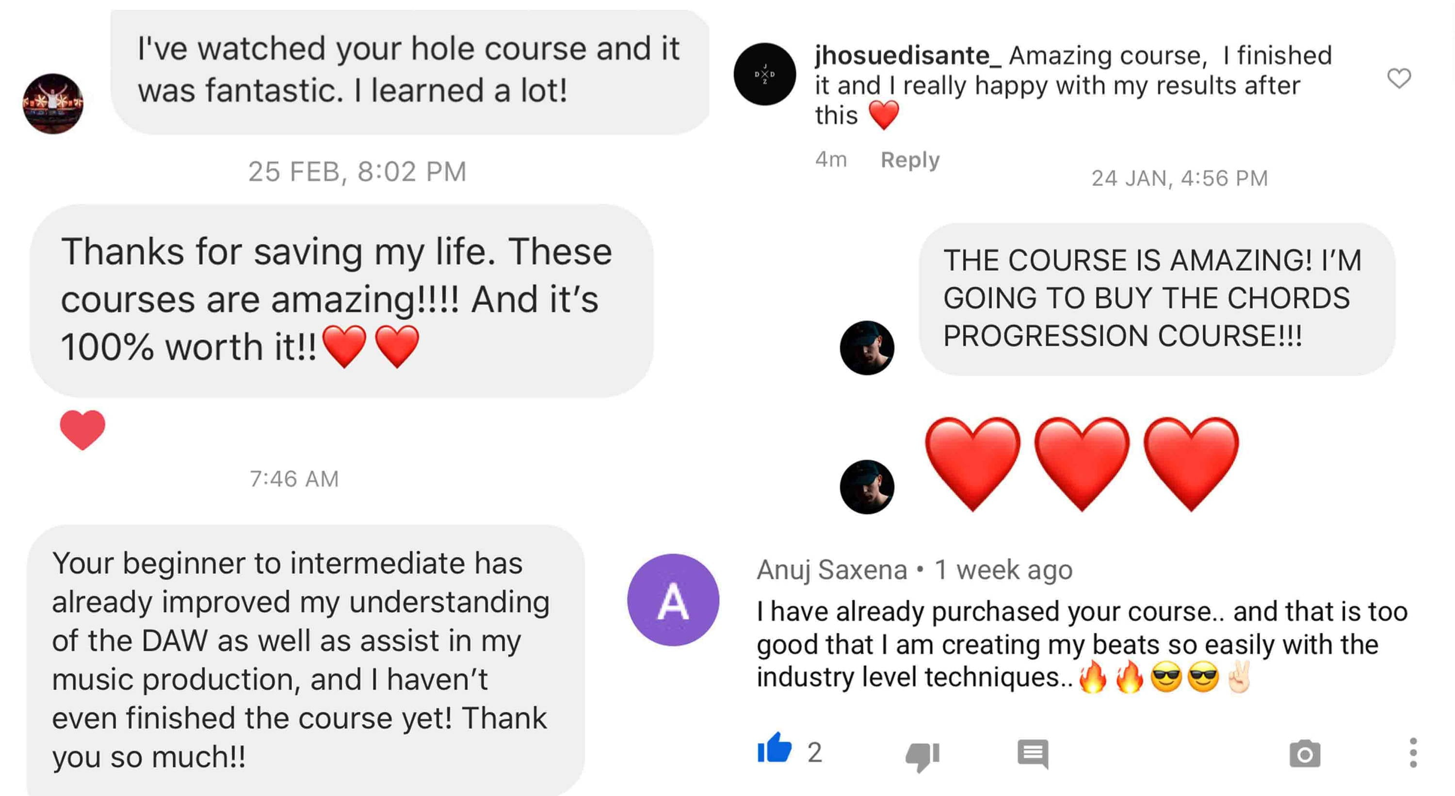 Screen Shots of Production Music Live Reviews sent in by Students