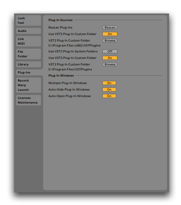Plugin folders Ableton Live 10