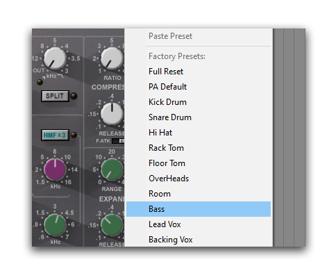 mixing music relying on mixing presets