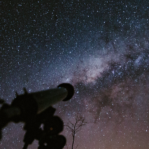 Telescope Looking At The Milky Way