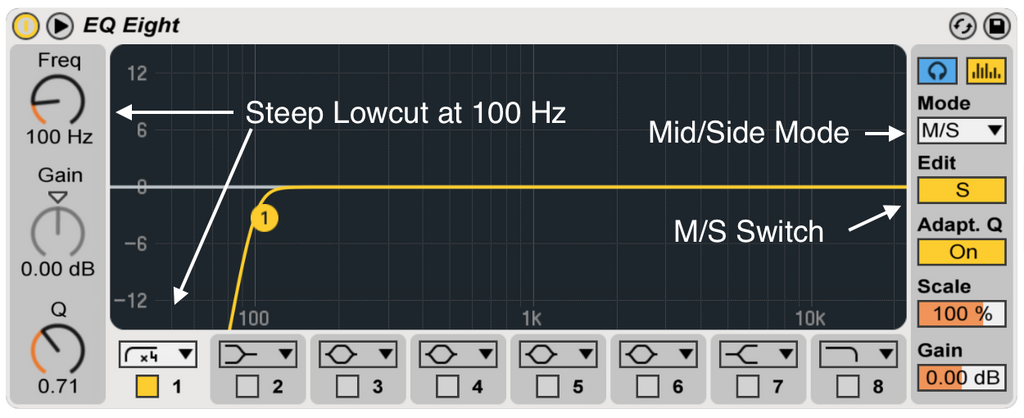 eq8 low cut for mono