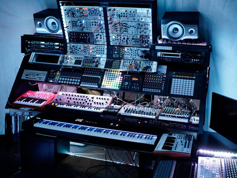 Attila Hanak's studio in Toronto with modular synths