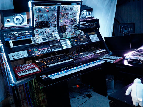 Attila Hanak's studio in Toronto with modular synths and gear