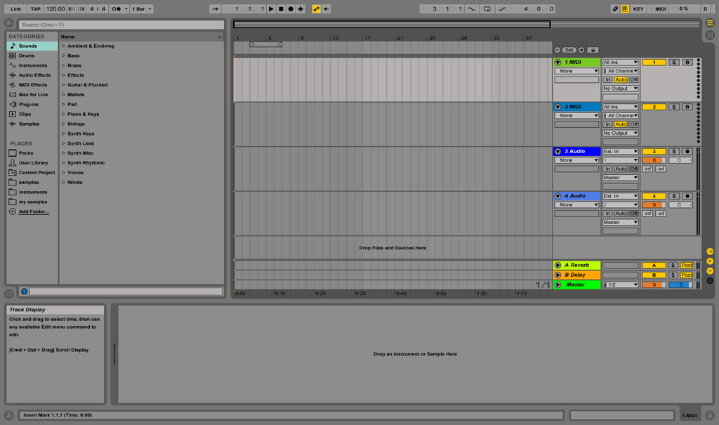 Arrangement view on Ableton