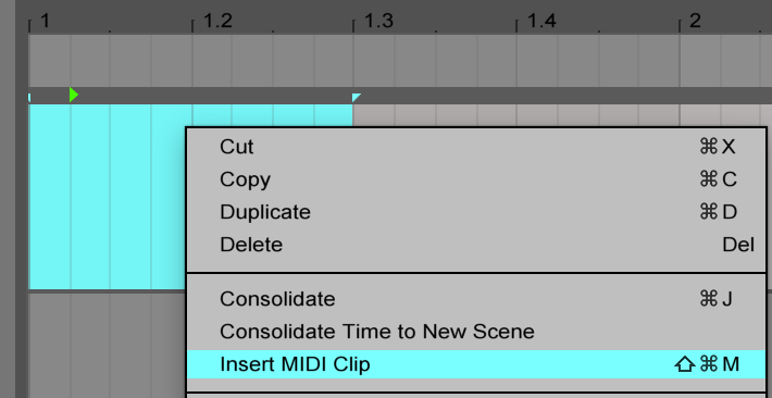 Insert a Midi Clip on Ableton