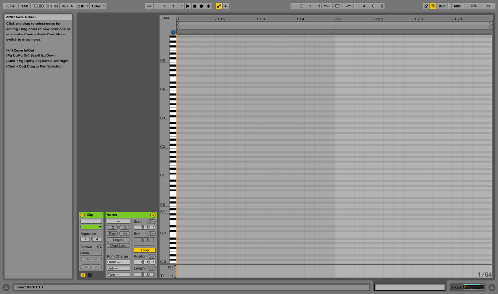 Clip view on Ableton Software