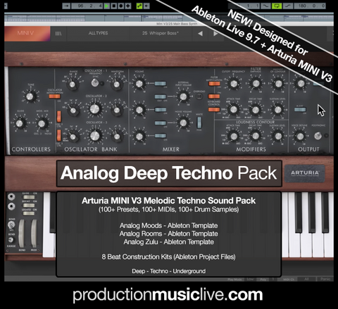 Analog Deep Techno Bundle - 3 Templates & 8 Project Files & 100+ Presets, MIDIs, Samples + optional Courses