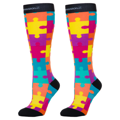 Compression Socks (Fun Patterns 20-30mmHg) - Moustache