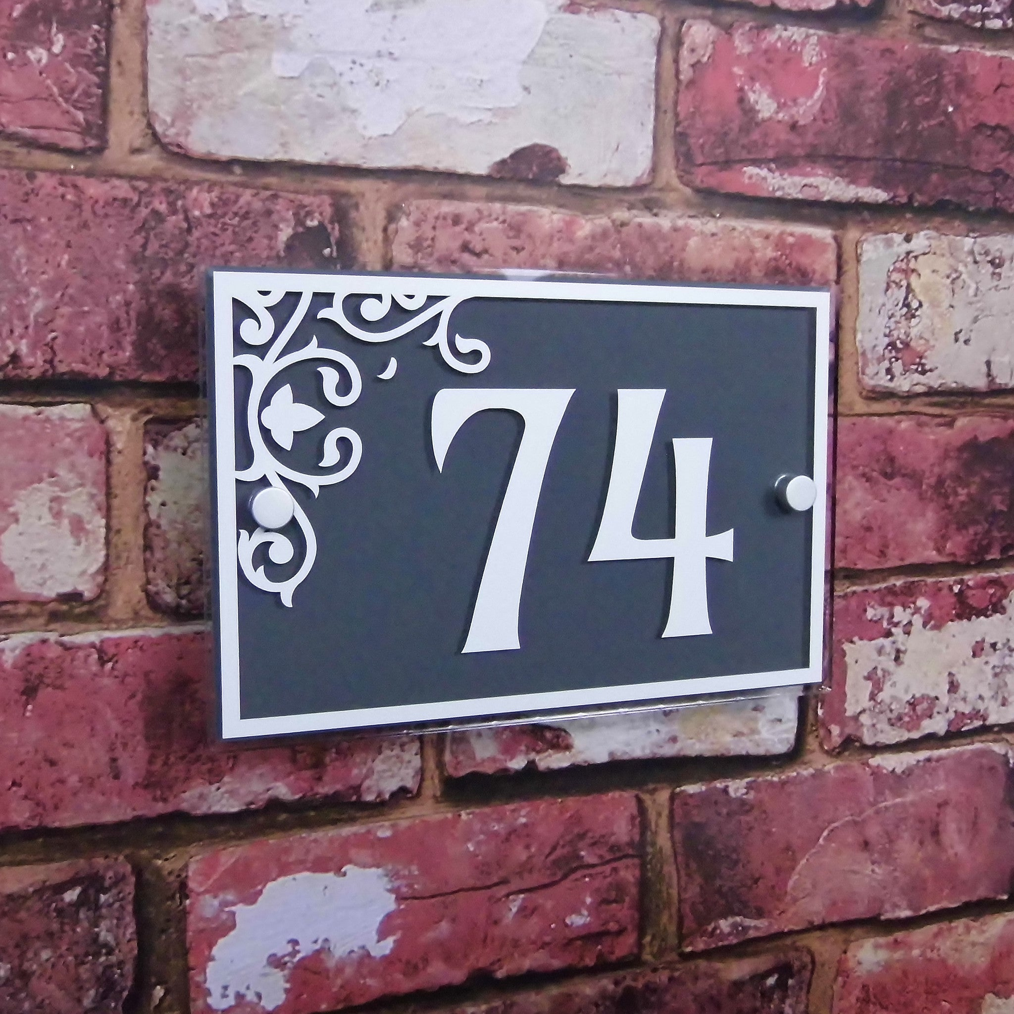 High Quality Floral House Door Number Sign (Rectangle) Glass Effect Acylic & High Quality Floral House Door Number Sign (Rectangle) Glass Effect ...