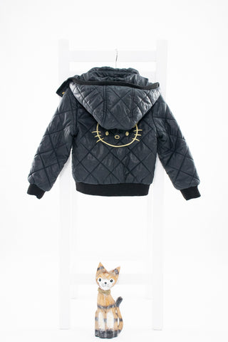 Капитонирано черно яке на Helo Kitty H&M/ 3-4г