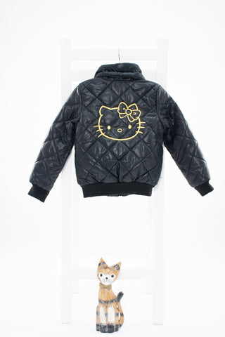 Капитонирано черно яке на Hello Kitty H&M/ 4-5г