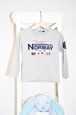 Памучна бледосива блуза Geographical Norway / 4г.