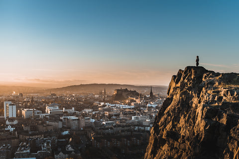 Photograph of the Edinburgh skyline from Salisbury Crags by Robert Wood