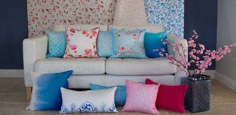 Cherry Blossom Collection including cushions and fabrics