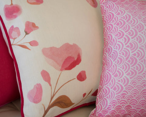 Piped Cherry Blossom cushion and pink Seigaiha cushion