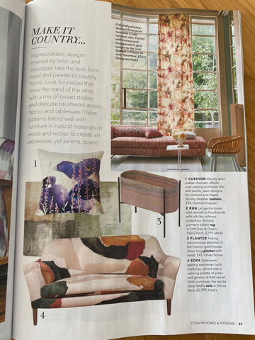 Hannah Knapton's Stormy Heather Cushion in Country Homes and Interiors June 2020