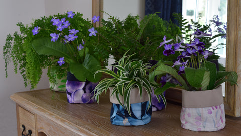 Fabric Plant Pots by Hannah Knapton, pansy, heather and ivy designs