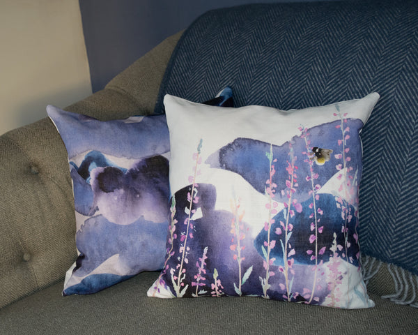 Stormy Heather and Stormy Skies 45cm x 45cm cushions in pink, purple and blue