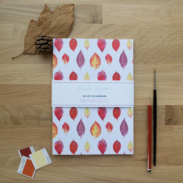 Autumn Leaves Set of Two A5 Notebooks