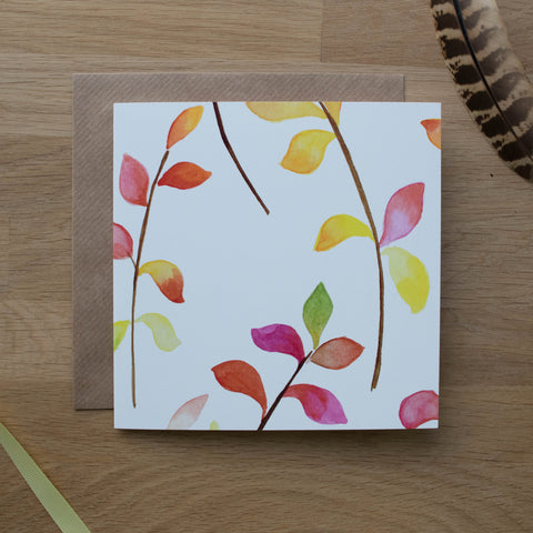 Large Bright Leaves Card