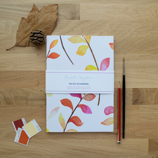 Bright Leaves Set of Two A5 Notebooks