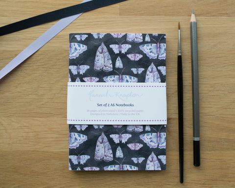 Butterfly and Moth Set of Two A6 Notebooks