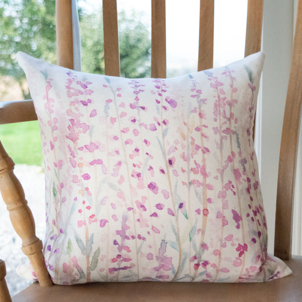 Heather cushion cotton/linen mix by Hannah Knapton