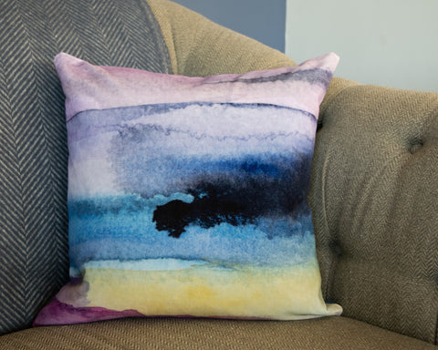 Velvet moorland landscape abstract cushion by Hannah Knapton
