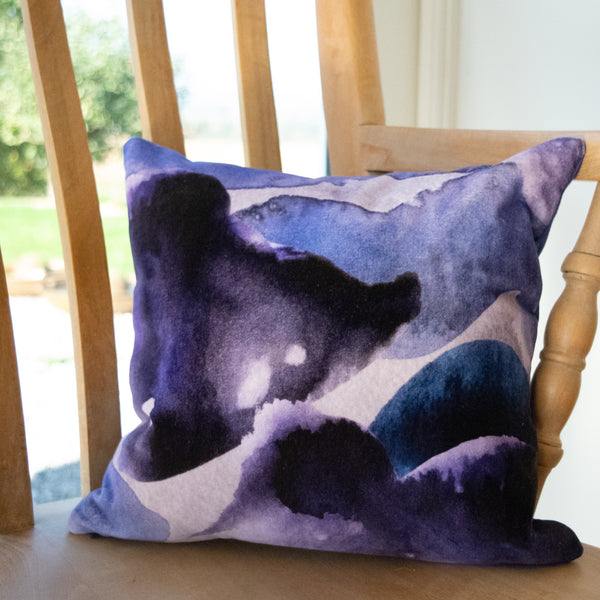 Small velvet stormy skies cushion by Hannah Knapton