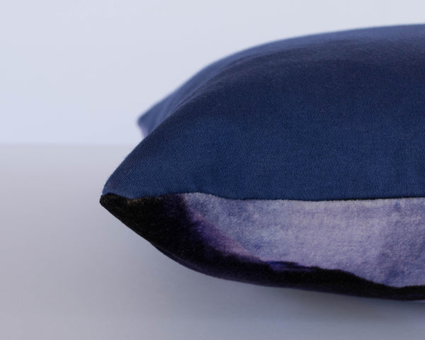 Hand dyed navy blue reverse of the abstract velvet stormy skies cushion by Hannah Knapton