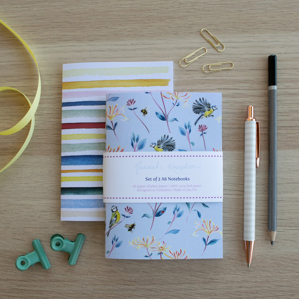 Garden Bluetit Set of Two A6 Notebooks