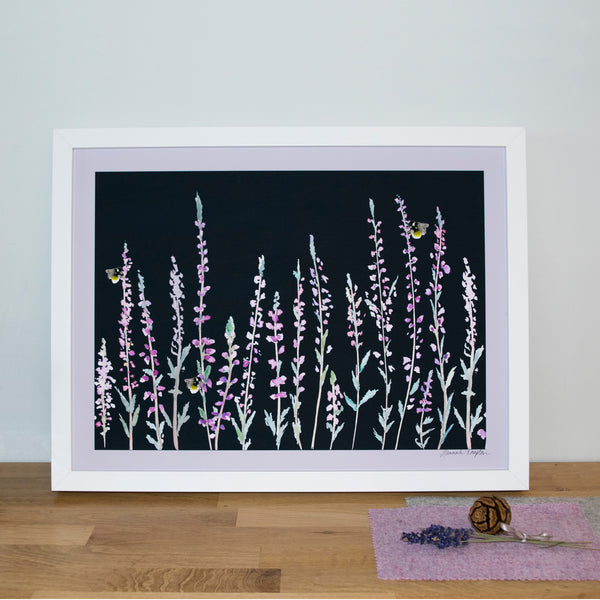 Dark Heather and Bee Print