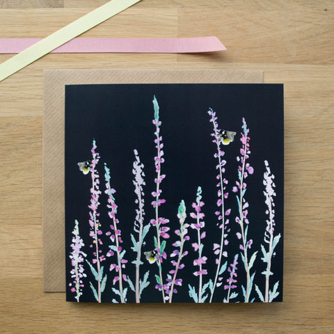 Dark Heather and Bee Card