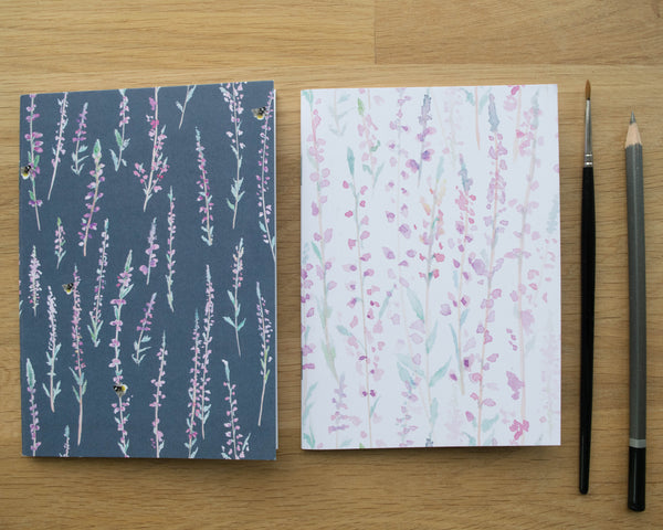 Grey Heather Set of Two A6 Notebooks